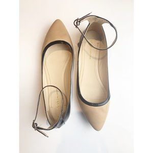 BCBG nude and black patent flats size 8